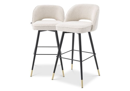 EICHHOLTZ Bar stoel Cliff set van 2 - Bouclé cream