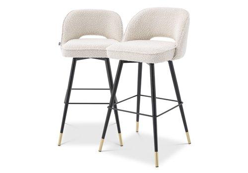 EICHHOLTZ Bar stool Cliff set of 2 - Bouclé cream