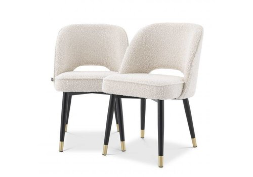 EICHHOLTZ Dining chair Cliff set of 2 - Bouclé cream