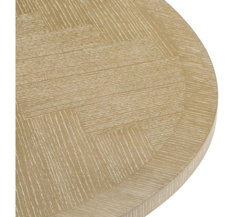 Esstisch Melchior oval in der Farbe Weiß Waschung
