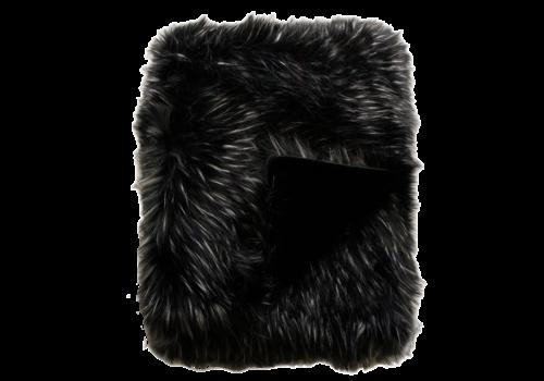 Heirloom Faux Fur plaid - Ebony Plume