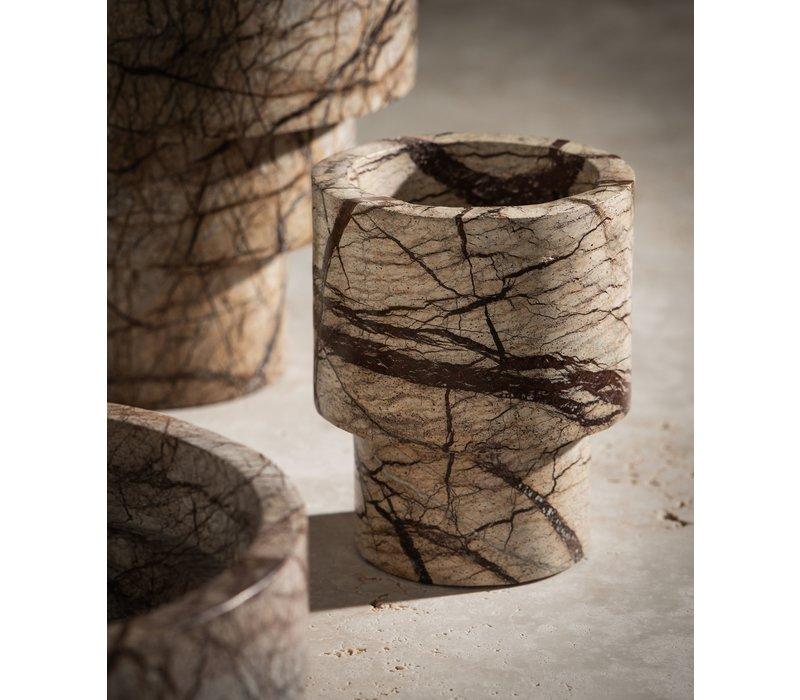 Vase 'Marble' - Brown - S