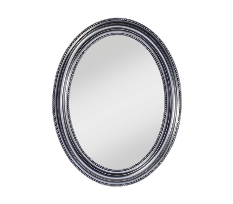 oval mirror 'Pearl' in silver