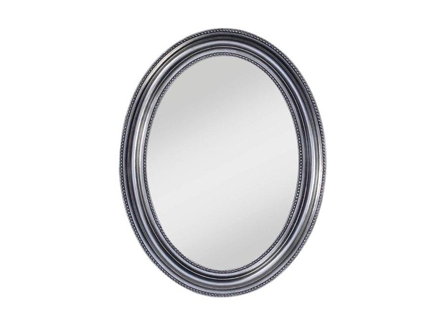 Ovaler Spiegel 'Pearl' 67 x 87 cm mit silbernen Rahmen