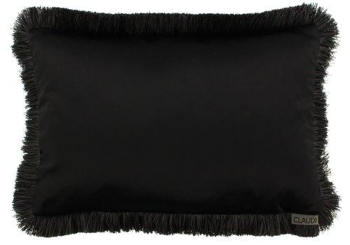 CLAUDI throw pillow Dafne  Black Fringe Black