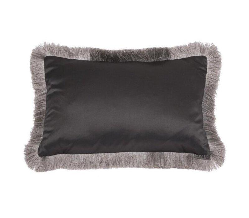 Throw pillow Dafne  Dark Taupe Fringe Silver