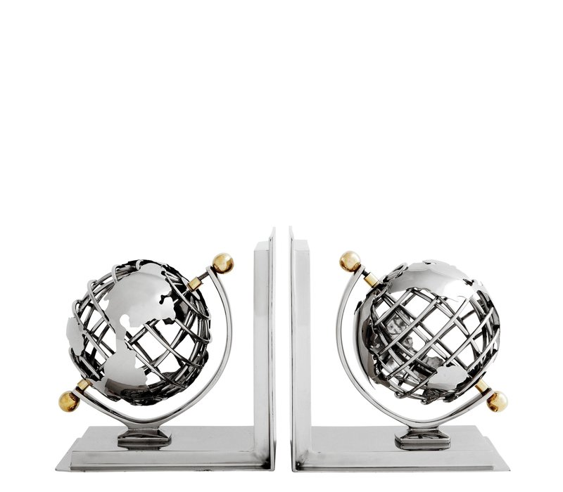 Boekensteunen  'Globe' Set van 2 Nickel Finish