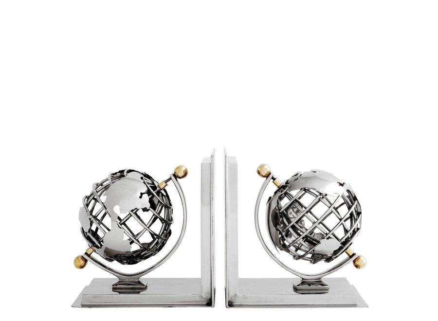 Boekensteunen  'Globe' Set van 2 Nikkel afwerking