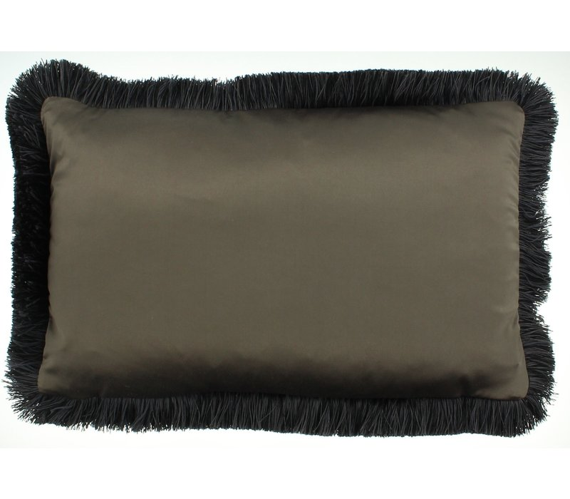 Throw pillow Dafne Brown Fringe Black/Taupe