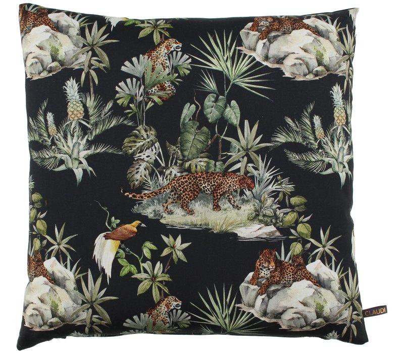 Cushion Panther Leaf Black