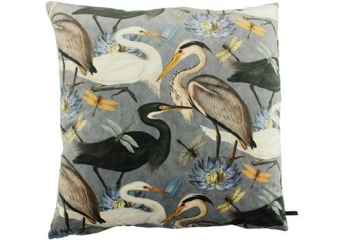 CLAUDI Cushion Bibi Velvet Crane Iced Blue