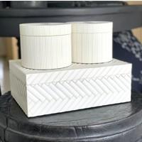 Round storage box 'Lines' White