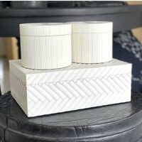 Runde Aufbewahrungsbox 'Lines' White
