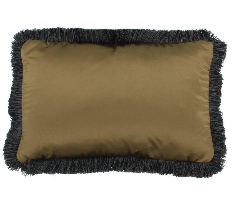 Throw pillow Dafne Bronze Fringe Black/Taupe