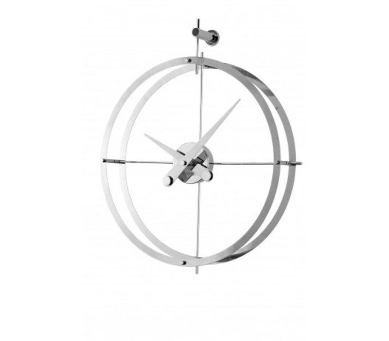 Design Wanduhr '2 Puntos' verchromt Diameter 43 cm