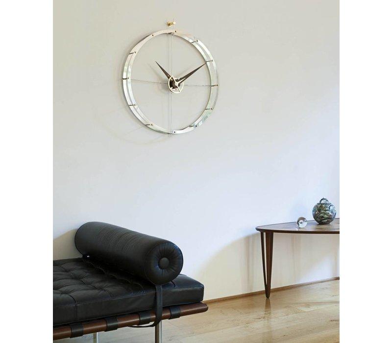Design Wanduhr 'Doble O g' verchromtes Stahl Durchmesser 70 cm