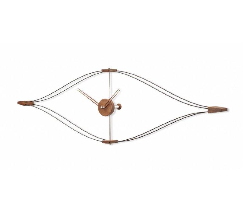 Wandklok modern - 'Look' in walnoot 145 x 45cm