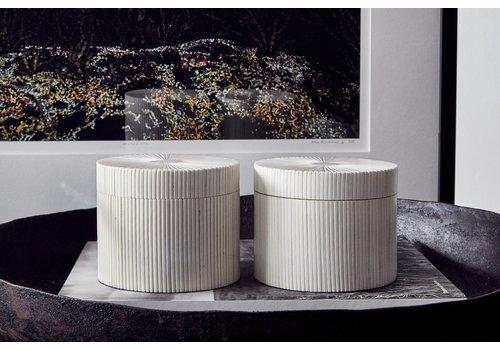 Leïlah Round storage box 'Lines' White