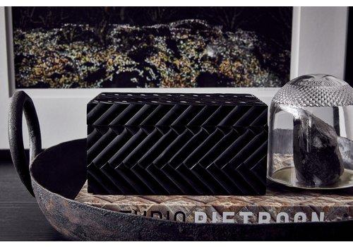 Leïlah Luxus Aufbewahrungsbox 'Herringbone' Schwarz