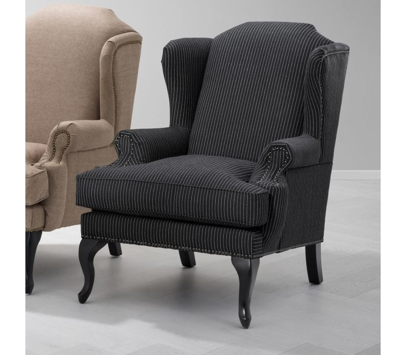 Armchair 'Frank Sinatra' Black & White Pinstripe