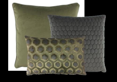 CLAUDI Cushion combination Olive/Dark Taupe: Imperiale, Honey & Astrid