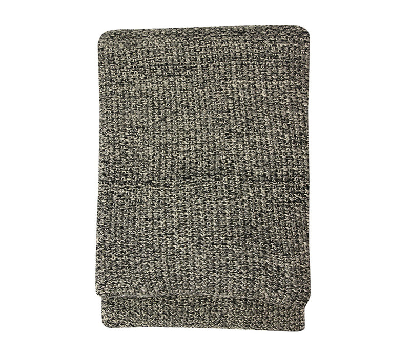 Plaid 'Milford' Black / Stone 125x150cm