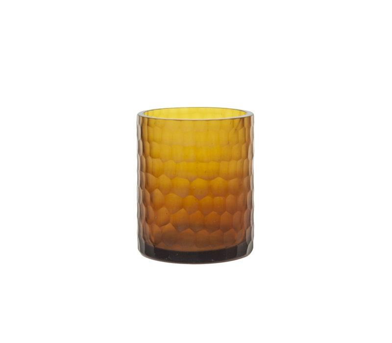 Glas Teelicht '' Amber ''