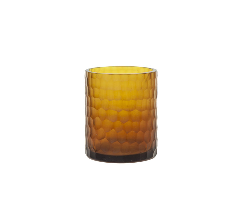 Glass tea light '' Amber '