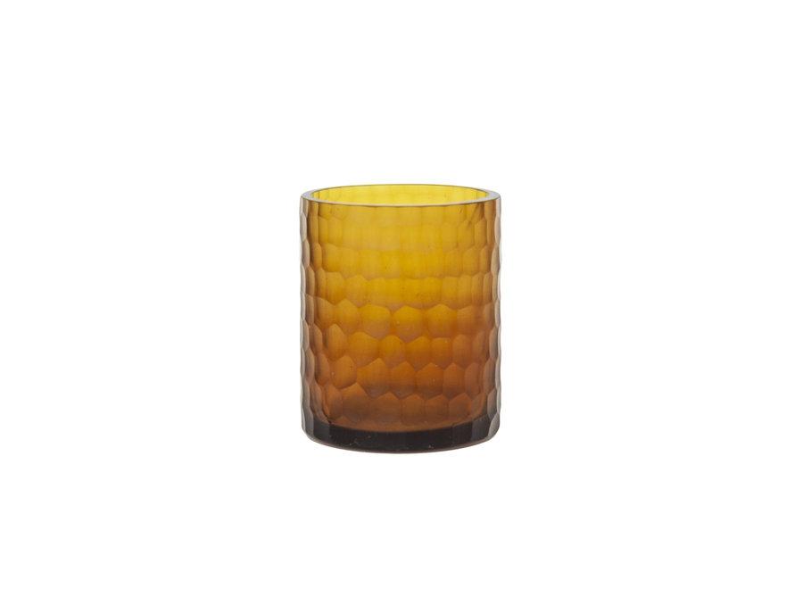 Glazen theelicht 'Amber'