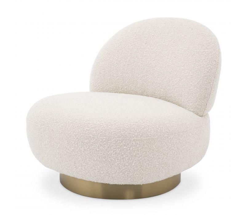 Swivel armchair 'Clément' - Bouclé cream