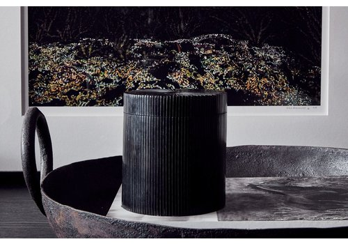 Leïlah Round storage box 'Lines' Black - L