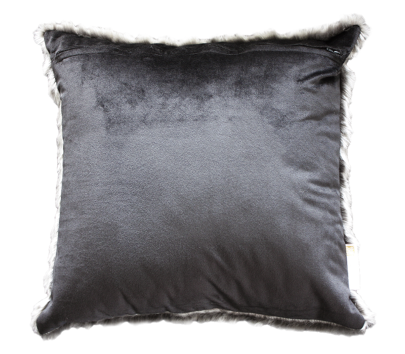 Fur cushion 'Pewter Chincilla' 45x45cm