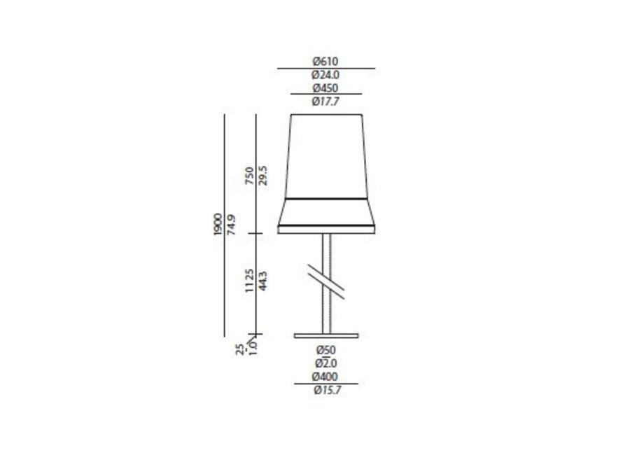 Design vloerlamp 'Audrey' gedecoreerd met accenten van zijde