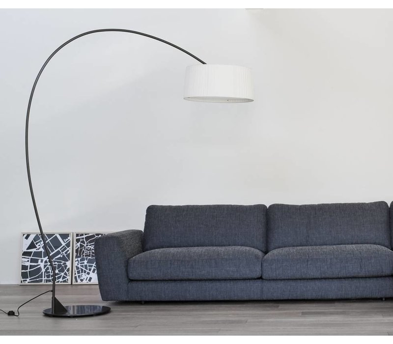 Floor lamp design 'Divina Arco' with fabric shade, height 211cm