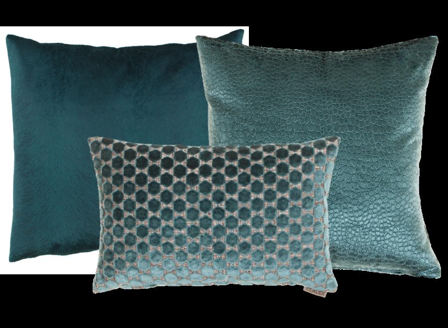 Cushion combination Petrol: Orsina, Biagio & Perla