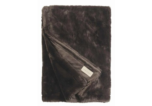 Winter-Home Faux fur plaid 'Seal Hot Chocolate' Supersoft