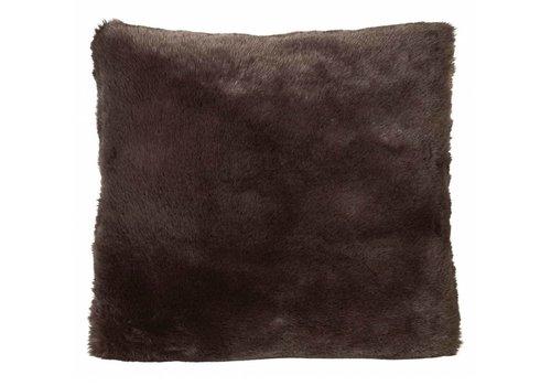 Winter-Home Cushion faux fur 'Seal Hot Chocolate'