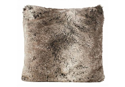 Winter-Home Cushion faux fur 'Yukonwolf'