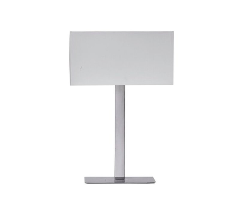 Moderne tafellamp van glanzend staal met witte lampenkap