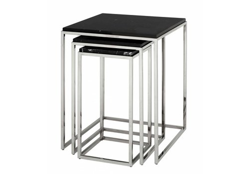 EICHHOLTZ Side tables marble 'Byron' set of 3
