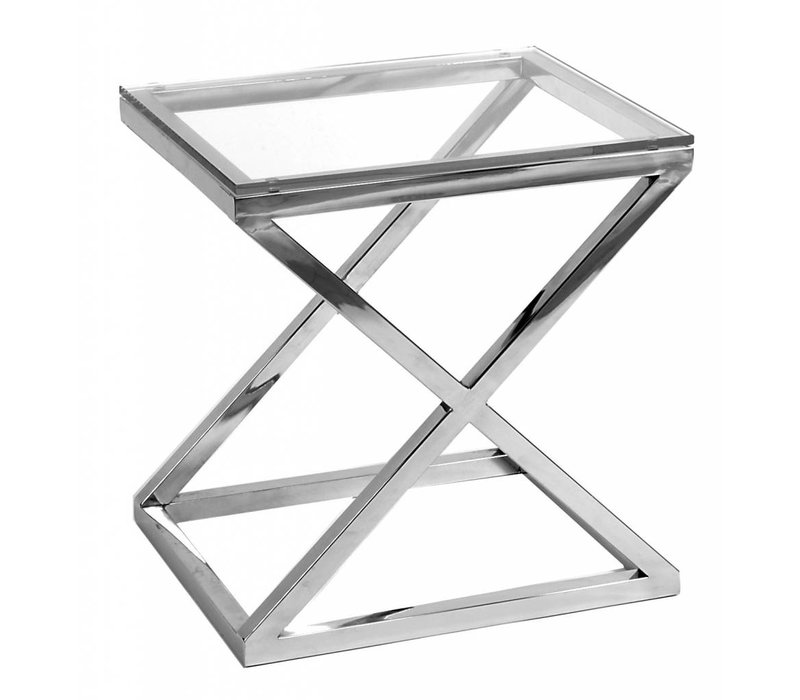 Glass side table 'Criss Cross', 56 x 46 x 59 cm (h)