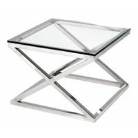 Glazen bijzettafel vierkant 'Criss Cross', 65 x 65 x 49cm (h)
