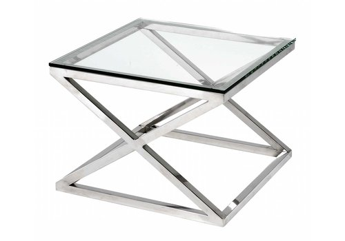 EICHHOLTZ Glass side table square - Criss Cross