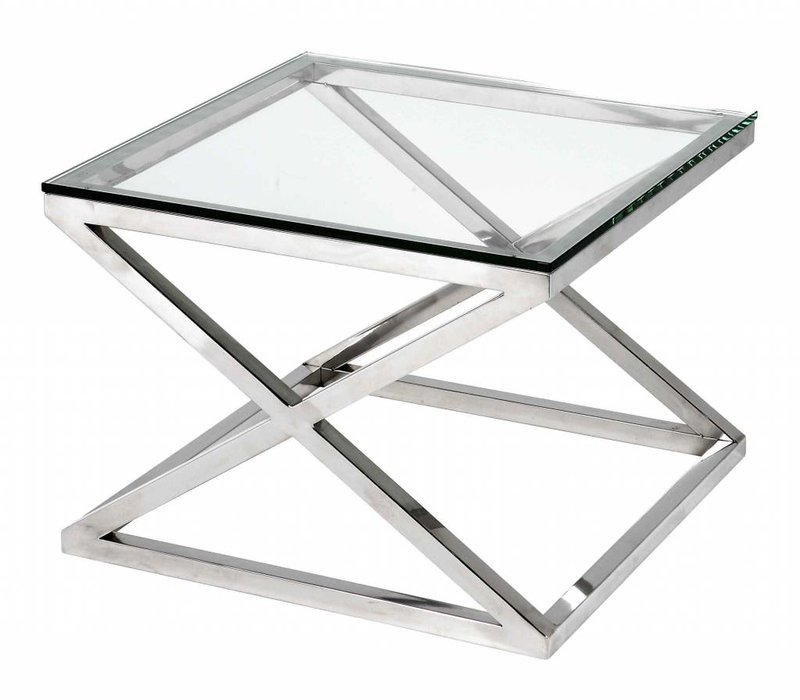 Glass side table square 'Criss Cross', 65 x 65 x 49 cm (h)