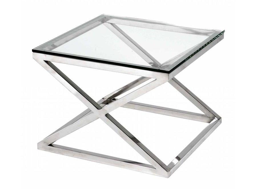 Glazen bijzettafel vierkant 'Criss Cross'