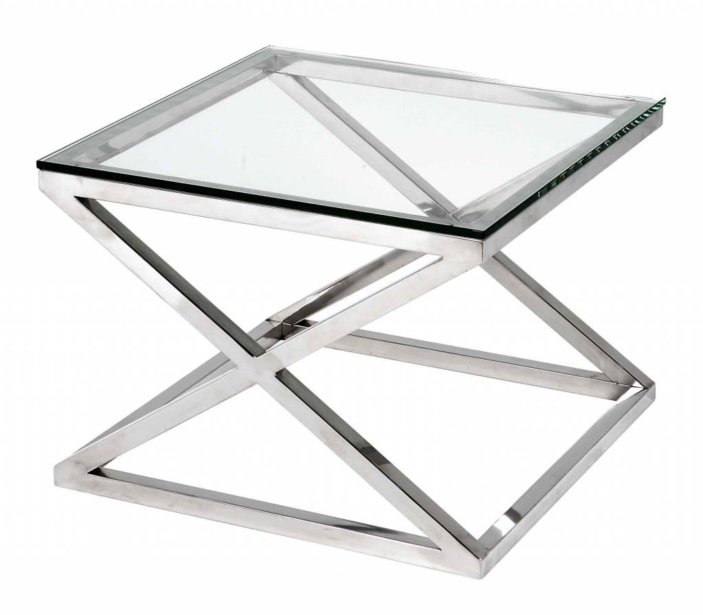 Bijzettafel Vierkant Glas.Glazen Bijzettafel