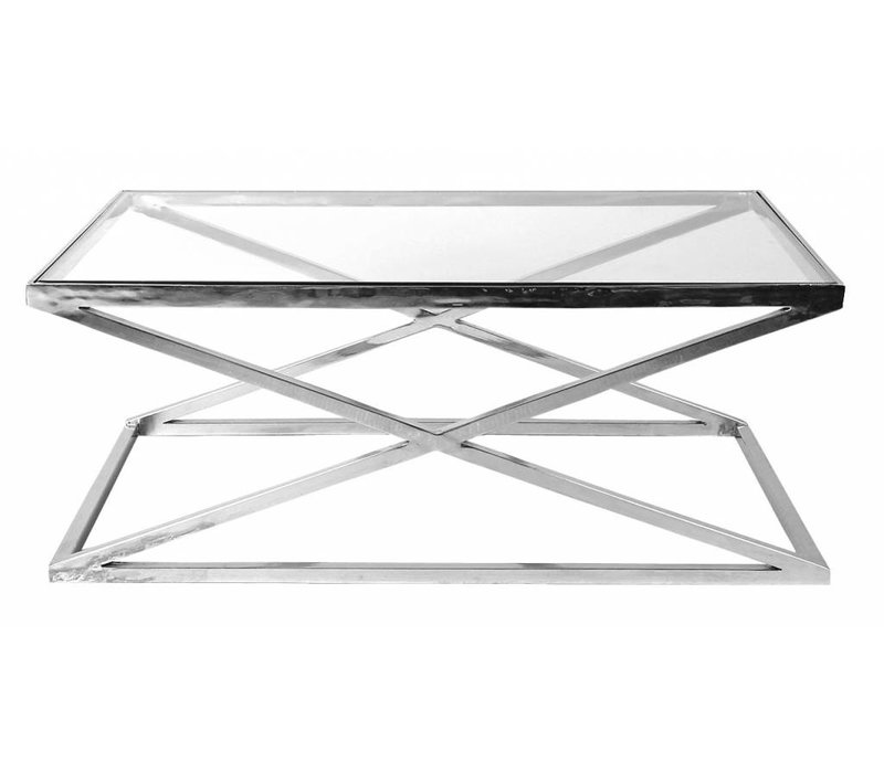 Grote Glazen Salon Tafel.Eichholtz Glazen Salontafel Criss Cross 120 X 70 X 47cm H