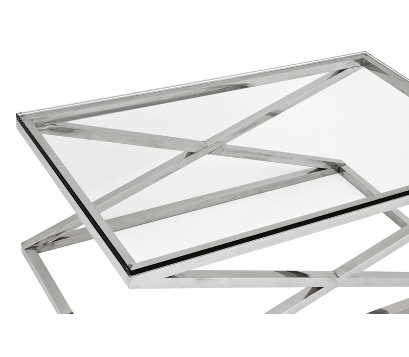 Glass coffee table 'Criss Cross', 120 x 70 x 47 cm (h)