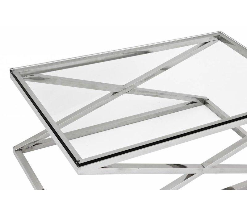 Glazen salontafel 'Criss Cross', 120 x 70 x 47cm (h)