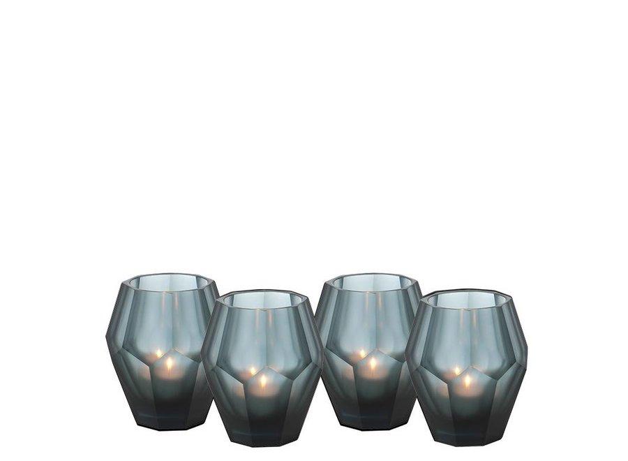Waxinelichthouders - Okhto bleu 'S' set van 4